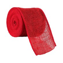 "Celebrate It Wired Burlap Ribbon, 4"", Red"