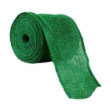 "Celebrate It Wired Burlap Ribbon, 4"", Green"