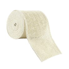 "Celebrate It Wired Burlap Ribbon, 4"", Ivory"