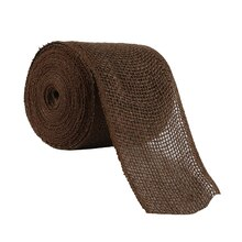"Celebrate It Wired Burlap Ribbon, 4"", Brown"