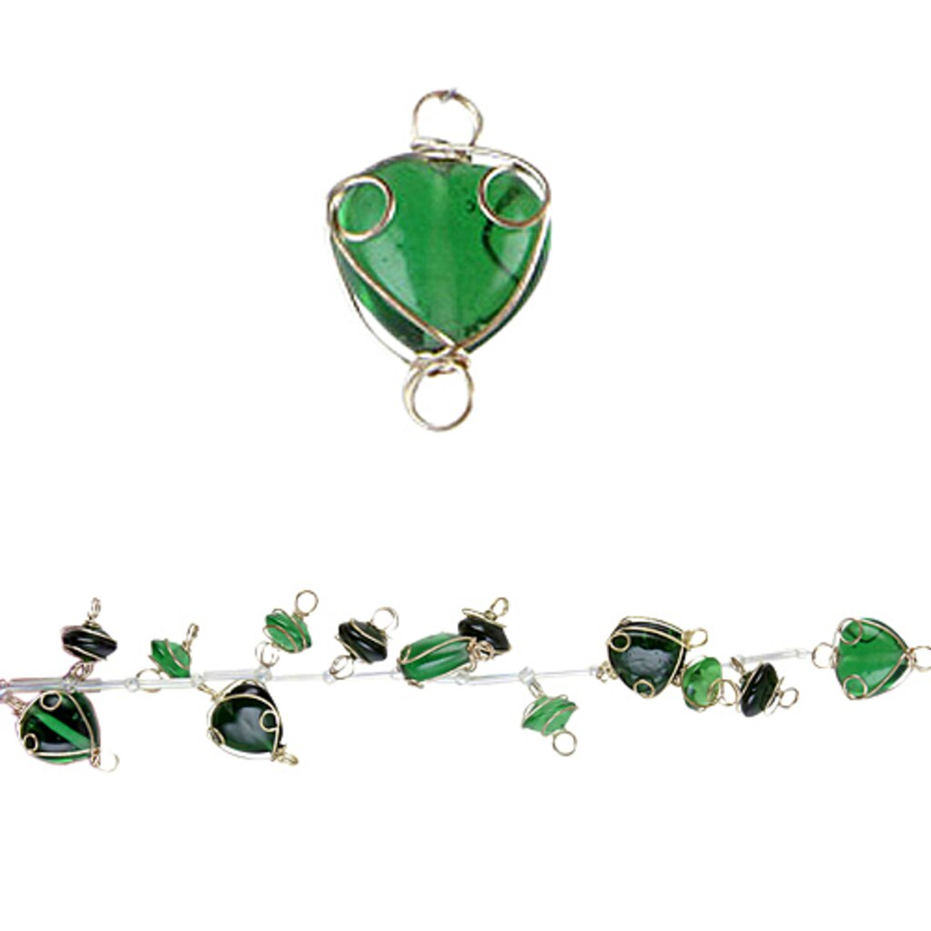 Bead Gallery® Wire-Wrapped Glass Beads, Emerald