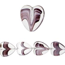 Bead Gallery Swirl Heart-Shaped Glass Beads, Amethyst, Close Up
