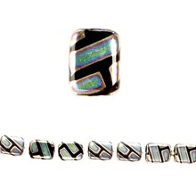 Bead Gallery Jet Glass Rectangle Beads, Black Luster, Close Up