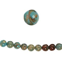 Bead Gallery Serpentine Round Beads, Aqua, Close Up