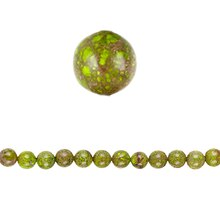 Bead Gallery Round Serpentine Beads, Green, Close Up
