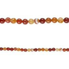 Bead Gallery Banded Agate Round Beads, Amber, Close Up