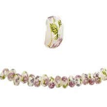 Bead Gallery Ceramic Rondelle Beads, White with Multi-Colored Roses, Close Up