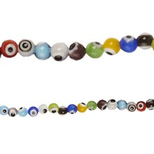 Bead Gallery 6 mm Glass Eye Beads, Multicolored, Close Up