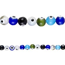 Bead Gallery Glass Eye Beads, Multicolored, Close Up