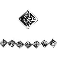 Bead Gallery Antique Silver Carved Diamond Beads, Close Up