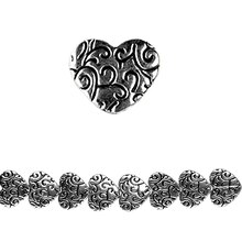 Bead Gallery Antique Silver Metal Heart Beads, Close Up