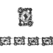 Bead Gallery Silver-Plated Slider, Crystal Rhinestone Close Up