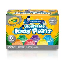 Crayola Washable Metallic Kids Paint, 6 Count