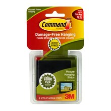 3M Command Medium Picture Hanging Strips, 6 Sets