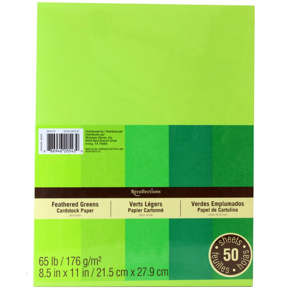 Cream colored cardstock paper studio - Recollections Feathered Greens Cardstock Paper