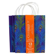Celebrate It Medium Paper Bag Value Pack, Peacock Feathers & Stripes