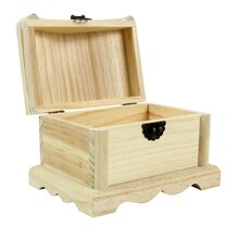 "ArtMinds™ Wood Treasure Chest, 6.5"" x 4.75"" x 5"" Open"