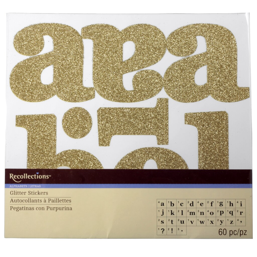 Recollectionstm large glitter alphabet stickers for Print letter stickers