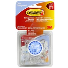 3M Command Medium Wire Hooks Value Pack, Clear