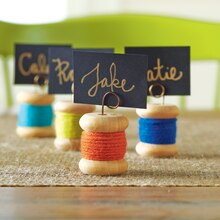 Yarn Wrapped Wood Spool Place Card