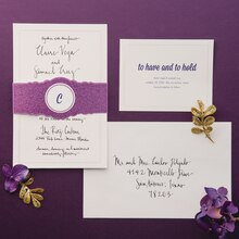 Purple Luxe Wedding Monogram Wrapped Invitation Suite, medium