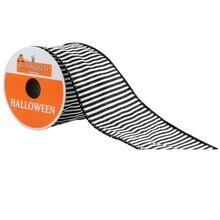Celebrate It Halloween Ribbon, Black & White Stripes