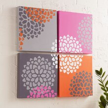 Mum Stenciled Canvas Set