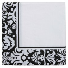 Celebrate It Luncheon Napkins, Black Damask