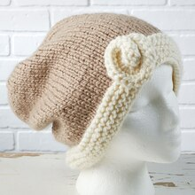 Flower Accent Slouchy Hat (knit)