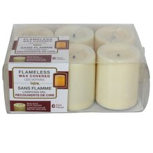 Inglow Flameless Wax Covered LED Votives, 6 Pack