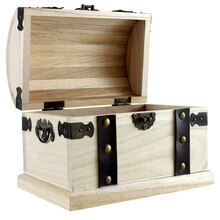 Artminds Wood Box With Metal Accents, Open