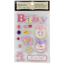 Recollections Signature Dimensional Stickers, Baby Girl