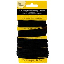 Bead Landing Nylon Cord, Black Mix