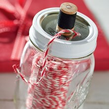 Mason Jar Red and White Twine Dispenser