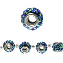 Bead Gallery Acrylic Rondelle, Large Hole, Sapphire, Close Up