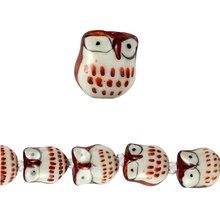 Bead Gallery Ceramic Owl Beads, Brown, Close Up