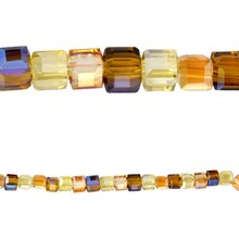 Bead Gallery Glass Cube Mix, 4mm, Amber, Close Up