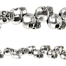 Bead Gallery Silver Plated Skull Beads, 12mm, Close Up