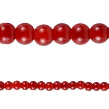 Bead Gallery Round Glass Beads, Red 6 mm Close Up