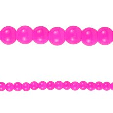 Bead Gallery Round Glass Beads, Fuchsia 6 mm Close Up