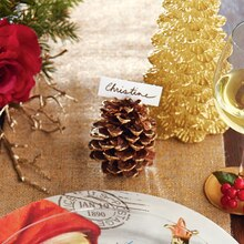Gold Gilded Pinecone Place Card Holder