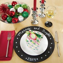 Merry and Bright Chalkboard Charger Plate