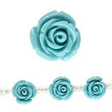 Bead Gallery Stone Composite Flower Beads, Turquoise, Close Up