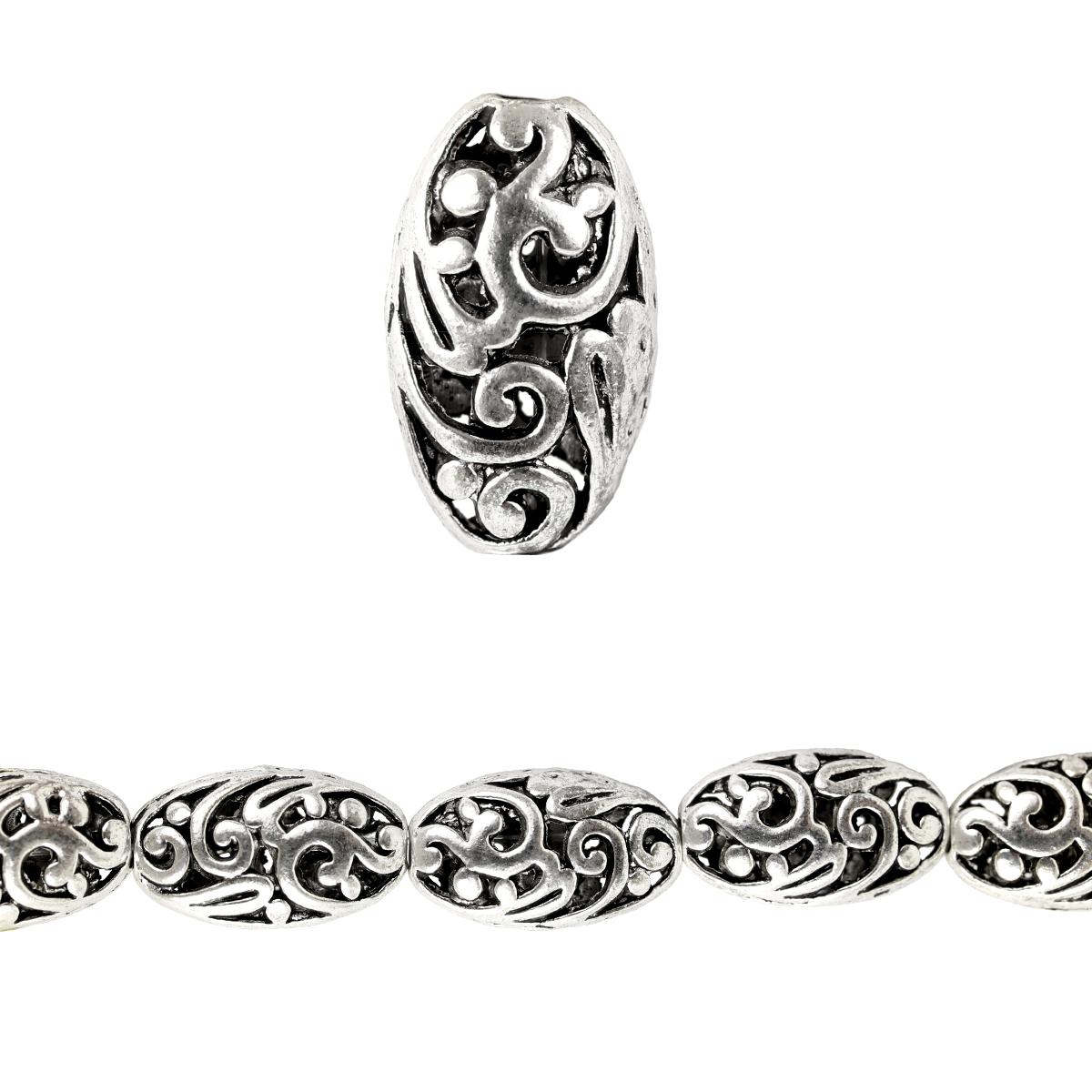 Bead Gallery® Silver Plated Carved Filigree Oval