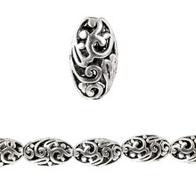 Bead Gallery Silver Plated Carved Filigree Oval, Close Up
