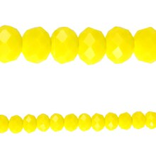 Bead Gallery Glass Faceted Rondelle, Yellow, Close Up