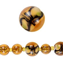 Bead Gallery Lampwork Glass Beads, Amber, Close Up