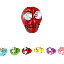 Bead Gallery Reconstituted Stone Skull Beads, Multi, Close Up