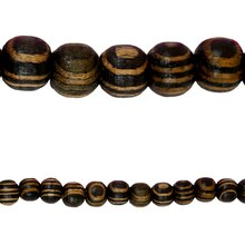 Bead Gallery Striped Wood Beads, 6mm, Close Up