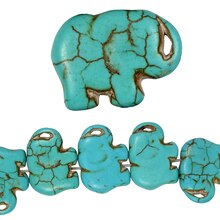 Bead Gallery Howlite Elephant Beads, Turquoise, Close Up